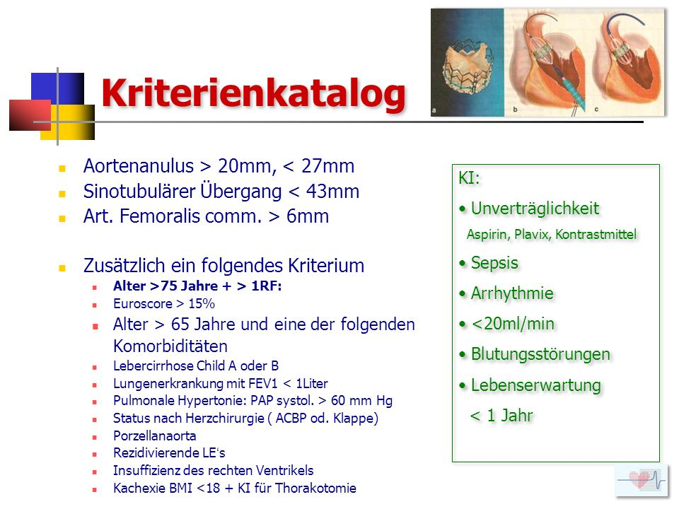 Kriterienkatalog Aortenanulus > 20mm, < 27mm