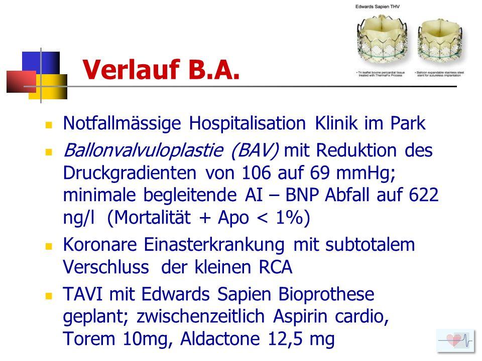 Verlauf B.A. Notfallmässige Hospitalisation Klinik im Park