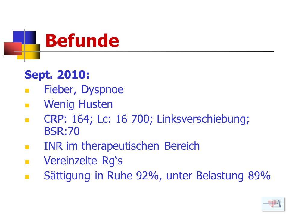 Befunde Sept. 2010: Fieber, Dyspnoe Wenig Husten
