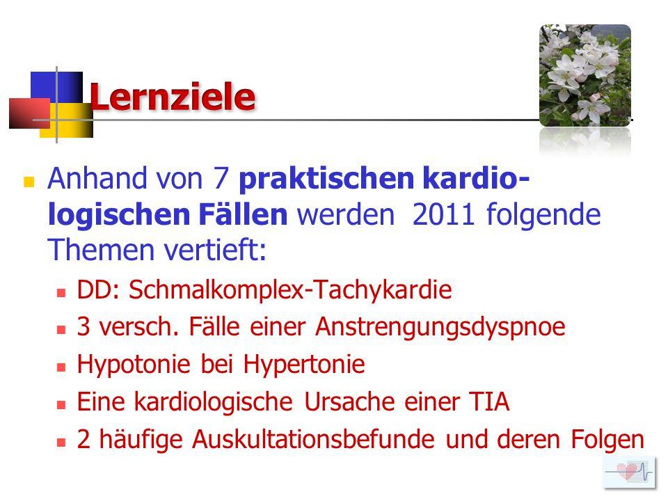 Lernziele Anhand von 7 praktischen kardio-logischen Fällen werden 2011 folgende Themen vertieft: DD: Schmalkomplex-Tachykardie.