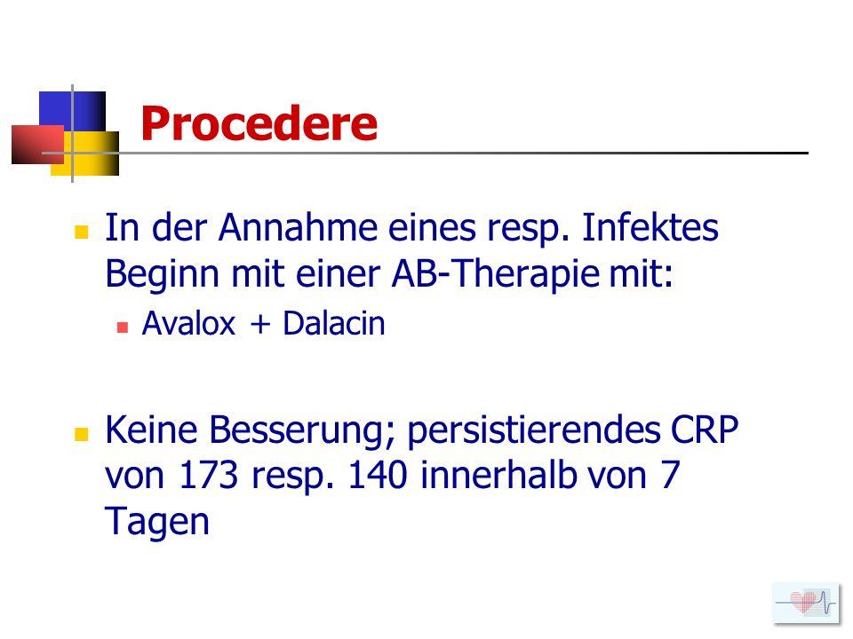 Procedere In der Annahme eines resp. Infektes Beginn mit einer AB-Therapie mit: Avalox + Dalacin.