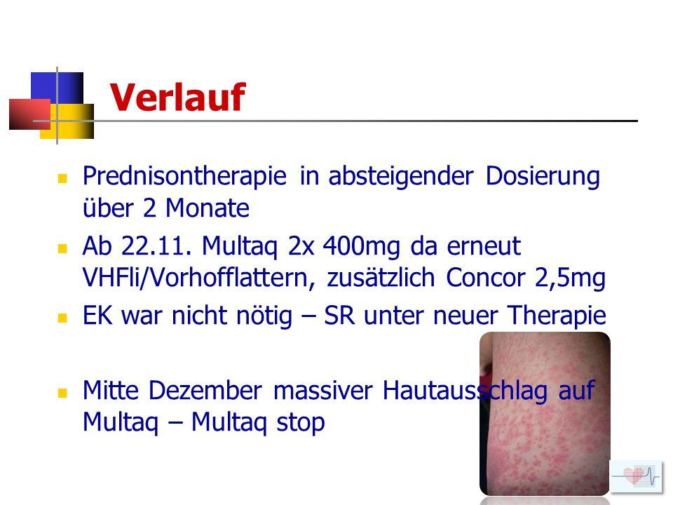 Verlauf Prednisontherapie in absteigender Dosierung über 2 Monate