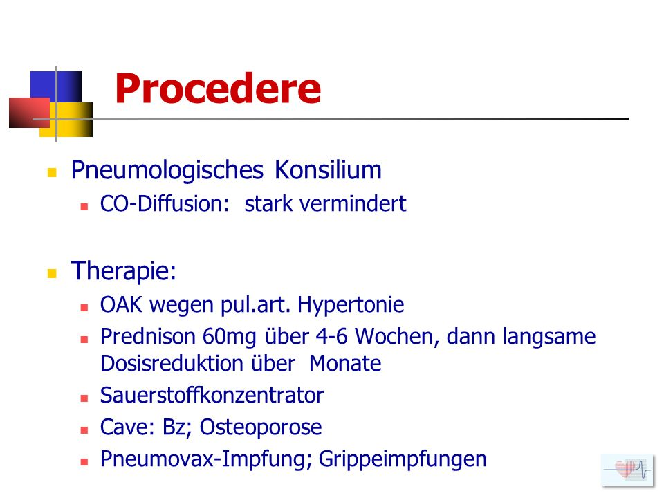 Procedere Pneumologisches Konsilium Therapie: