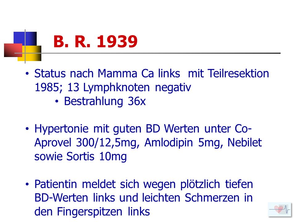 B. R. 1939 Status nach Mamma Ca links mit Teilresektion 1985; 13 Lymphknoten negativ. Bestrahlung 36x.