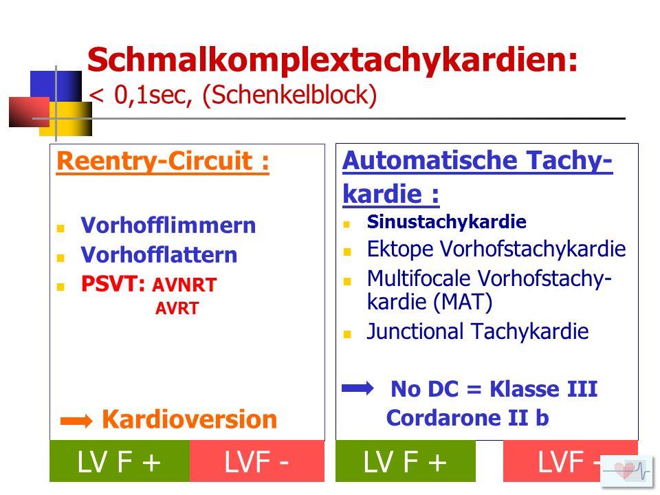 Schmalkomplextachykardien: < 0,1sec, (Schenkelblock)