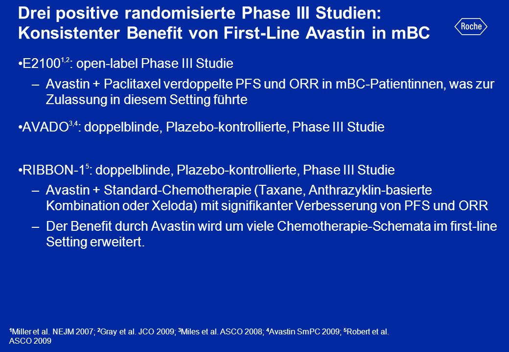 Drei positive randomisierte Phase III Studien: Konsistenter Benefit von First-Line Avastin in mBC