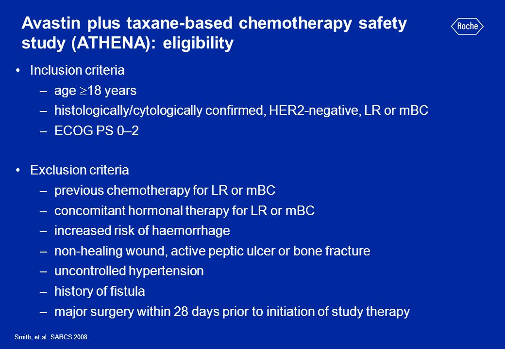 Avastin plus taxane-based chemotherapy safety study (ATHENA): eligibility
