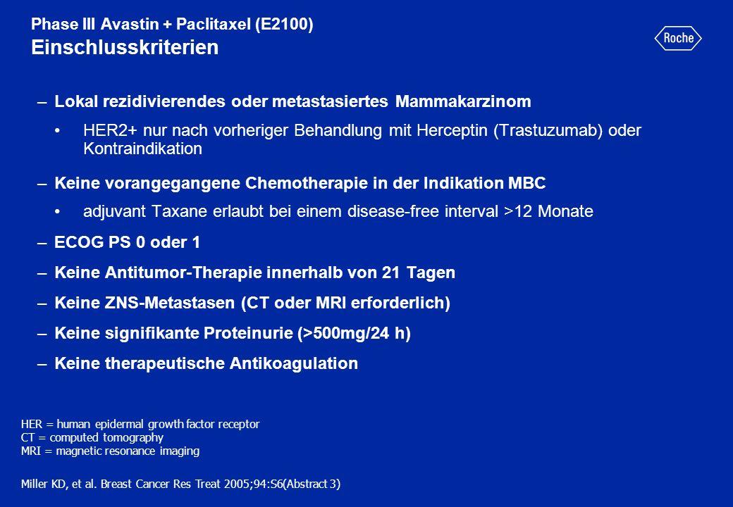 Phase III Avastin + Paclitaxel (E2100) Einschlusskriterien