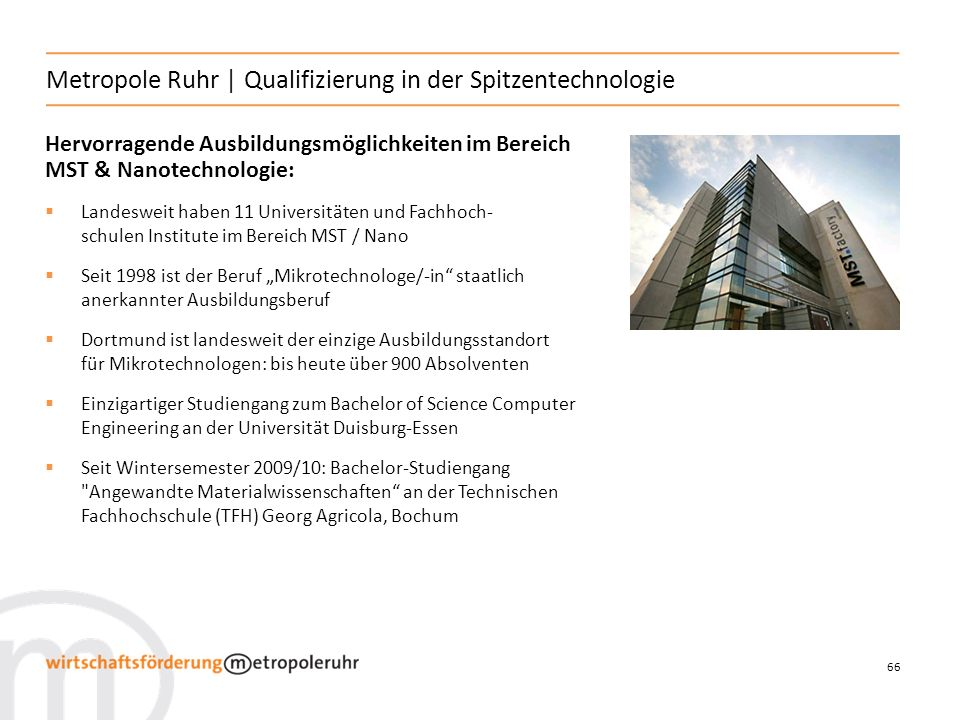 Metropole Ruhr | Qualifizierung in der Spitzentechnologie