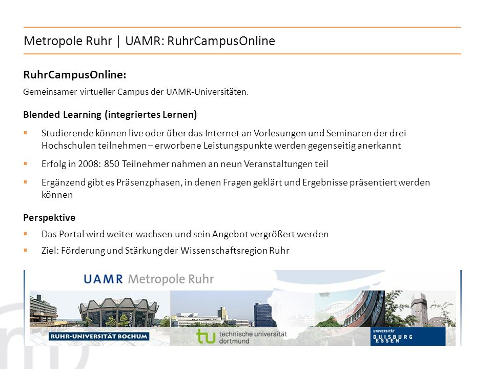 Metropole Ruhr | UAMR: RuhrCampusOnline