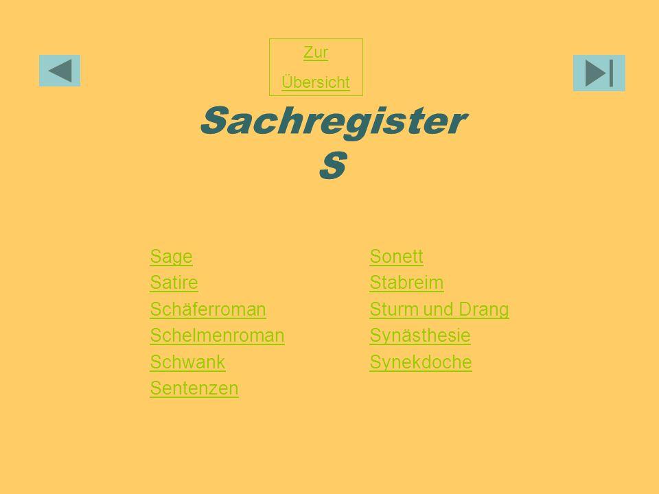 Sachregister S Sage Satire Schäferroman Schelmenroman Schwank