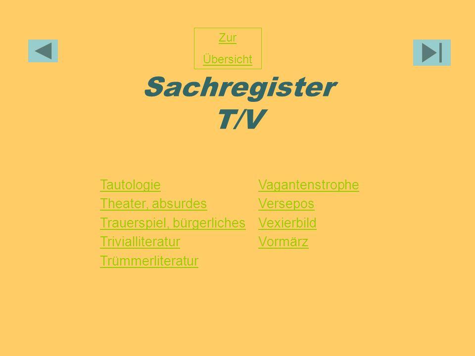 Sachregister T/V Tautologie Theater, absurdes