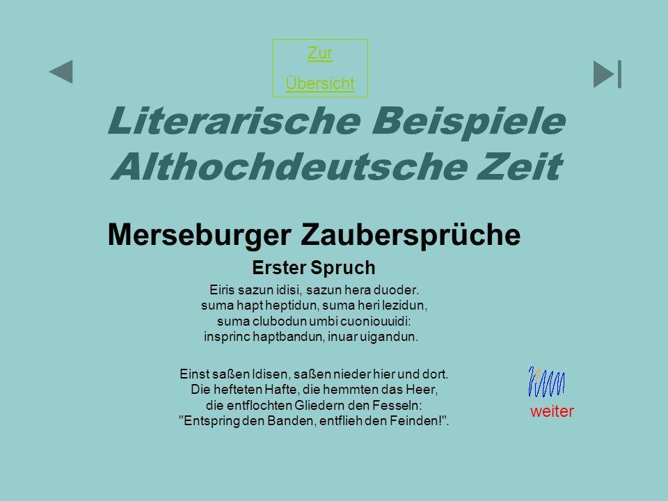 Literarische Beispiele Althochdeutsche Zeit