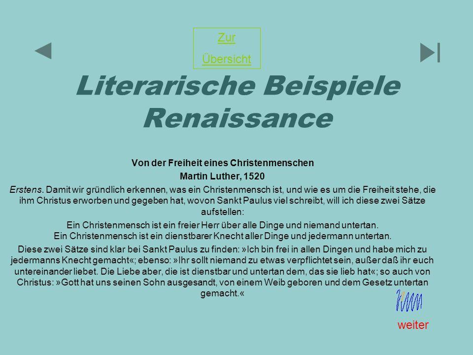 Literarische Beispiele Renaissance