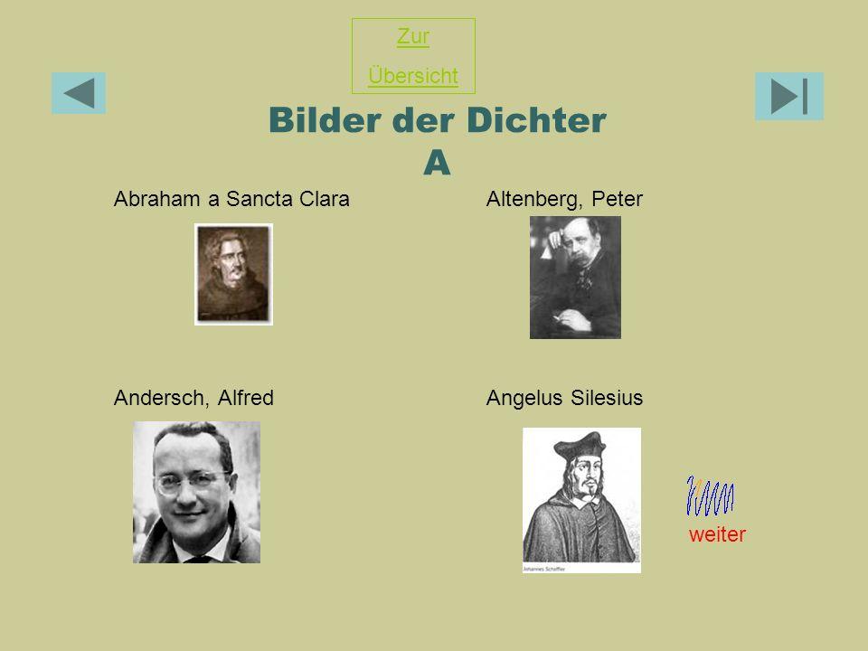 Bilder der Dichter A Zur Übersicht Abraham a Sancta Clara