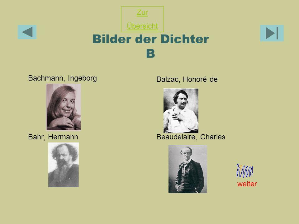 Bilder der Dichter B Zur Übersicht Balzac, Honoré de
