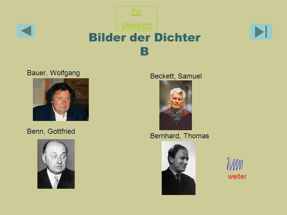 Bilder der Dichter B Zur Übersicht Beckett, Samuel Bauer, Wolfgang