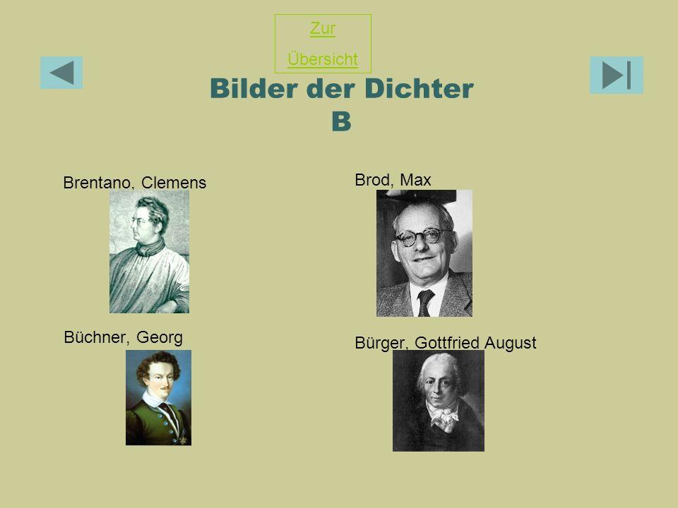 Bilder der Dichter B Zur Übersicht Brod, Max Brentano, Clemens
