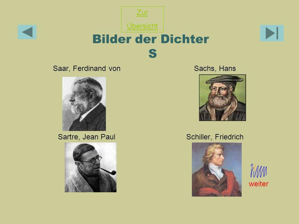 Bilder der Dichter S Zur Übersicht Saar, Ferdinand von Sachs, Hans