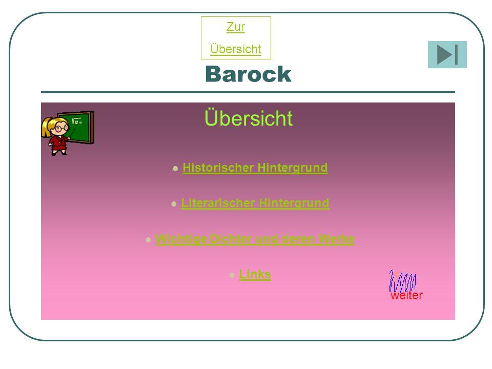 Barock Übersicht Zur Übersicht Historischer Hintergrund