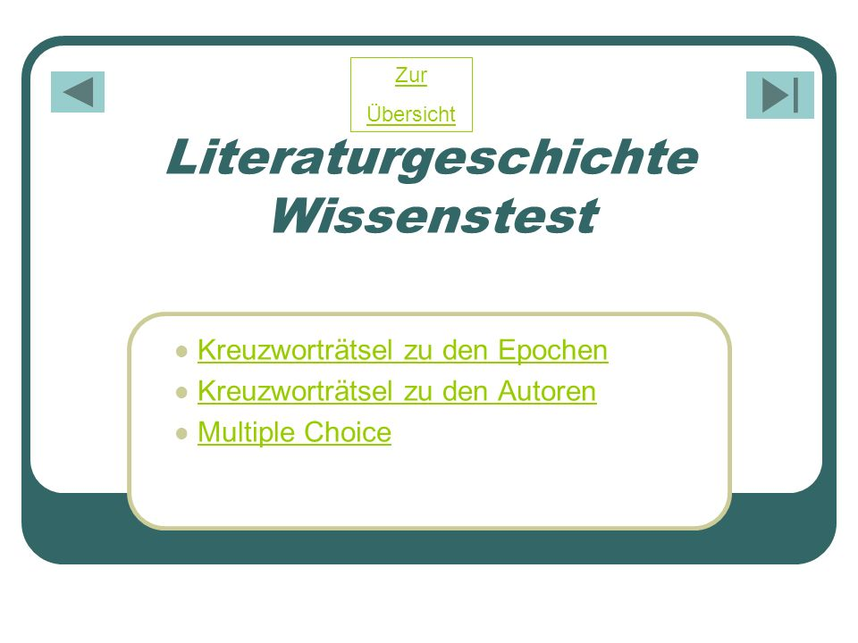 Literaturgeschichte Wissenstest