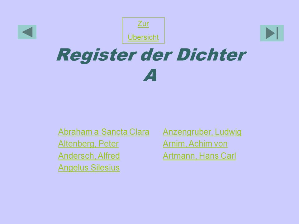Register der Dichter A Abraham a Sancta Clara Altenberg, Peter