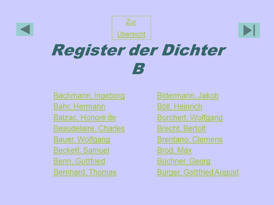 Register der Dichter B Bachmann, Ingeborg Bahr, Hermann
