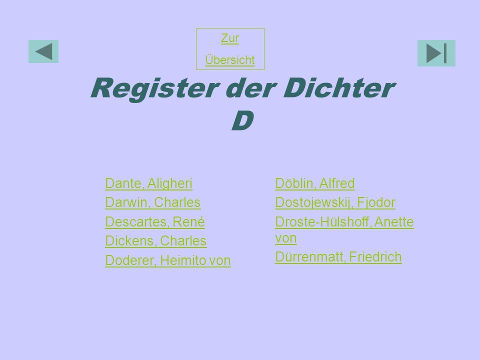 Register der Dichter D Dante, Aligheri Darwin, Charles Descartes, René