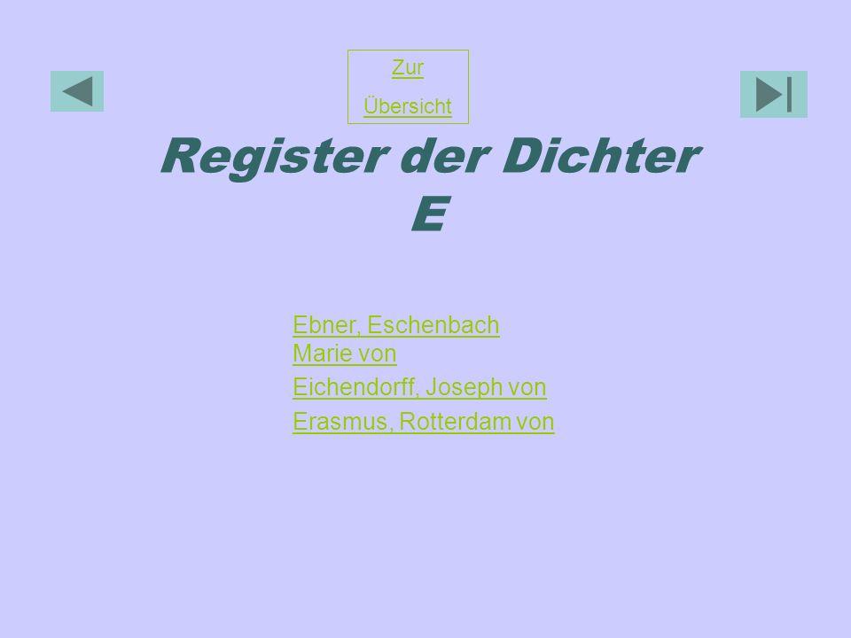 Register der Dichter E Ebner, Eschenbach Marie von