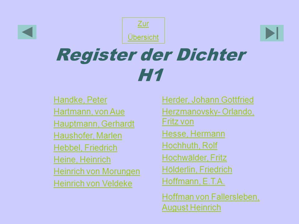 Register der Dichter H1 Handke, Peter Hartmann, von Aue