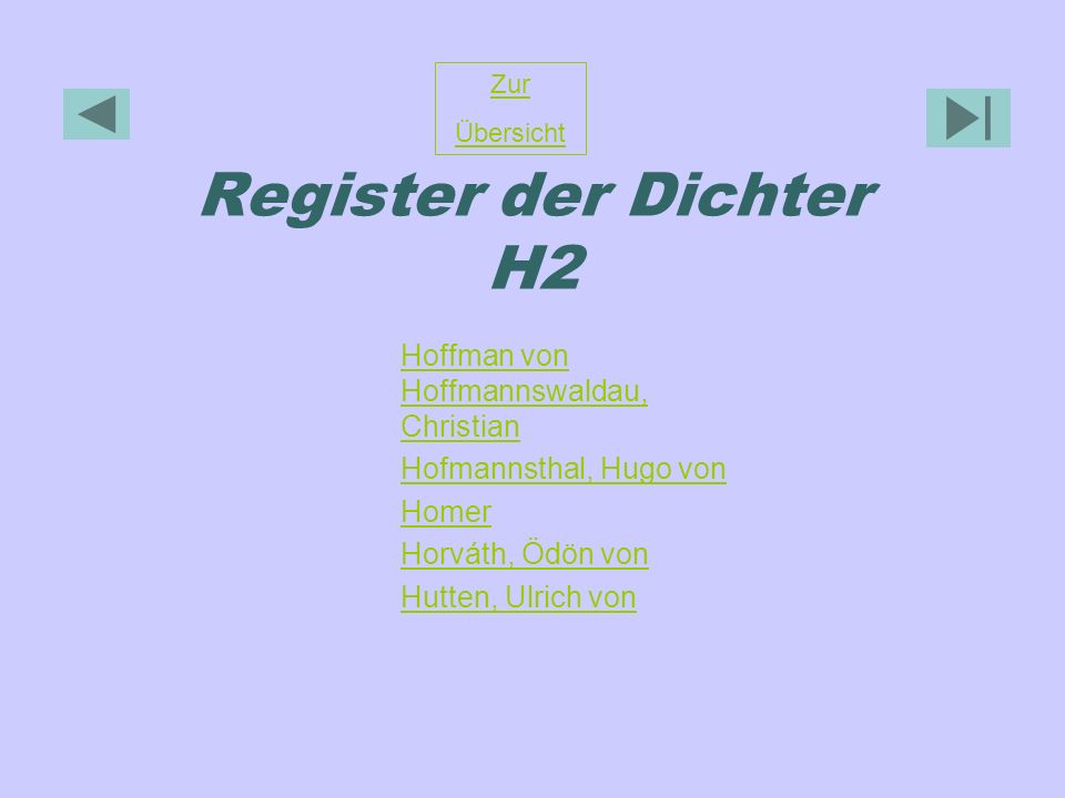 Register der Dichter H2 Hoffman von Hoffmannswaldau, Christian