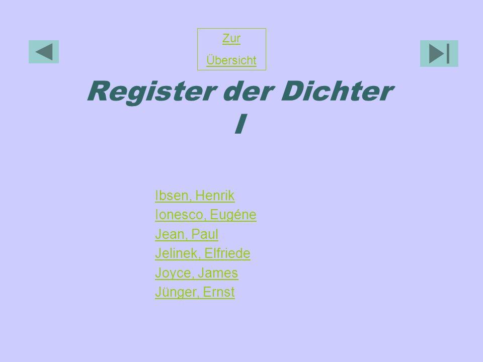 Register der Dichter I Ibsen, Henrik Ionesco, Eugéne Jean, Paul