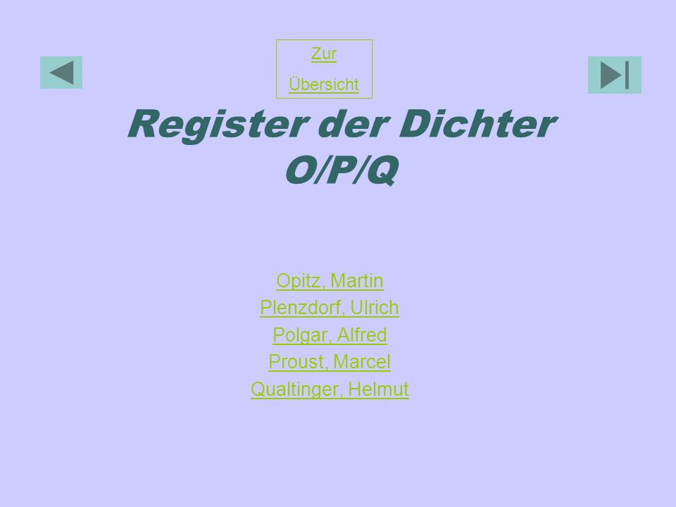 Register der Dichter O/P/Q