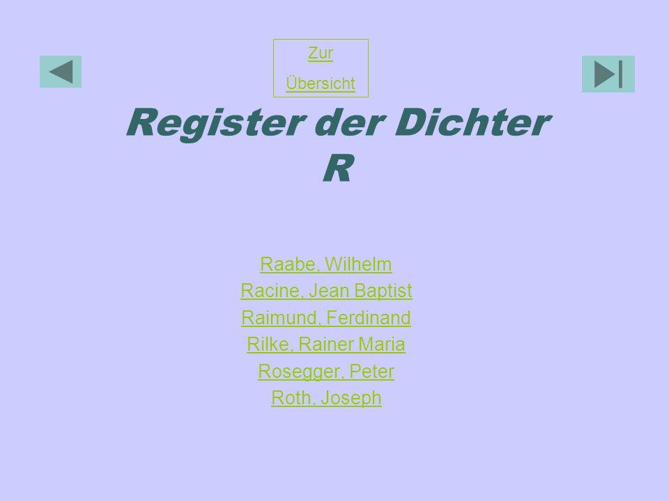 Register der Dichter R Raabe, Wilhelm Racine, Jean Baptist