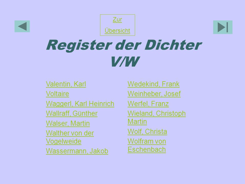Register der Dichter V/W