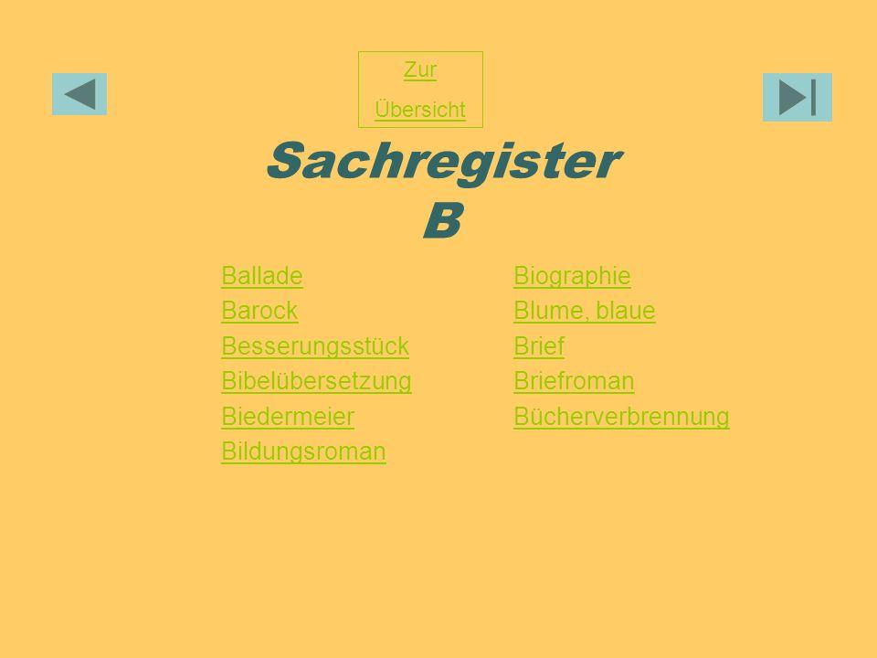 Sachregister B Ballade Barock Besserungsstück Bibelübersetzung