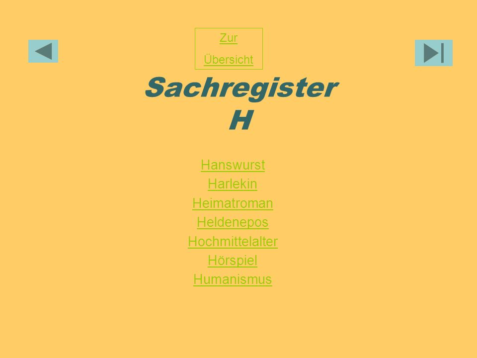 Sachregister H Hanswurst Harlekin Heimatroman Heldenepos