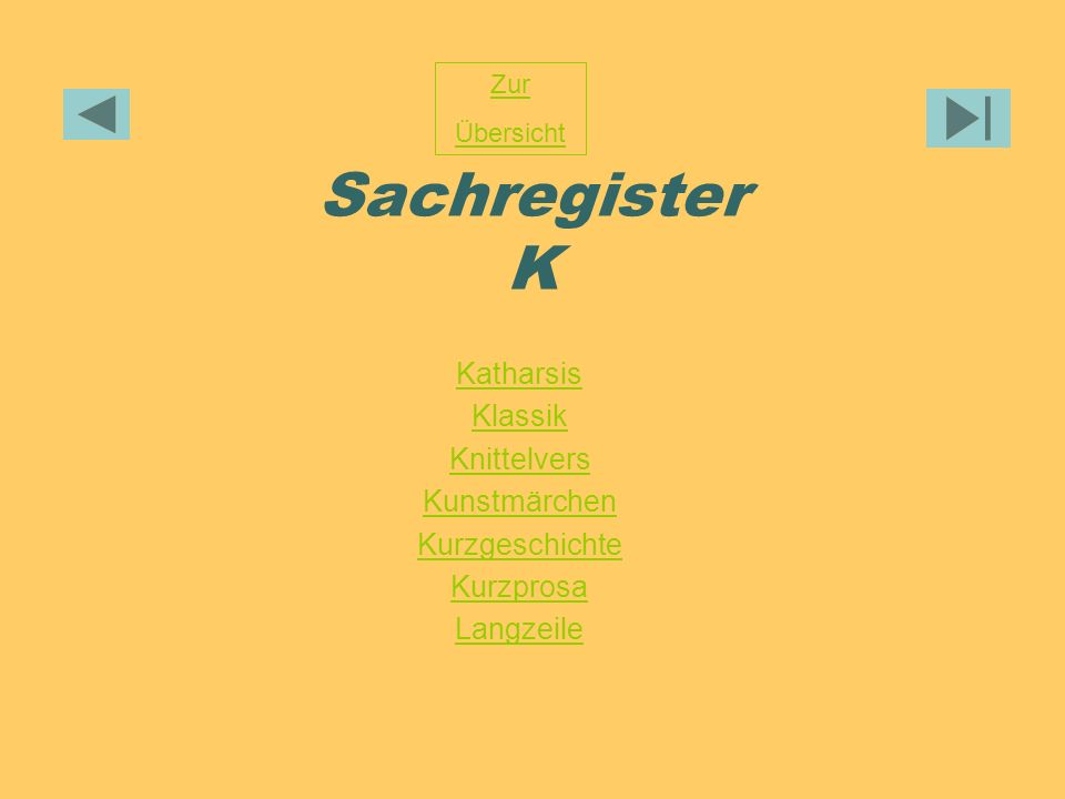 Sachregister K Katharsis Klassik Knittelvers Kunstmärchen