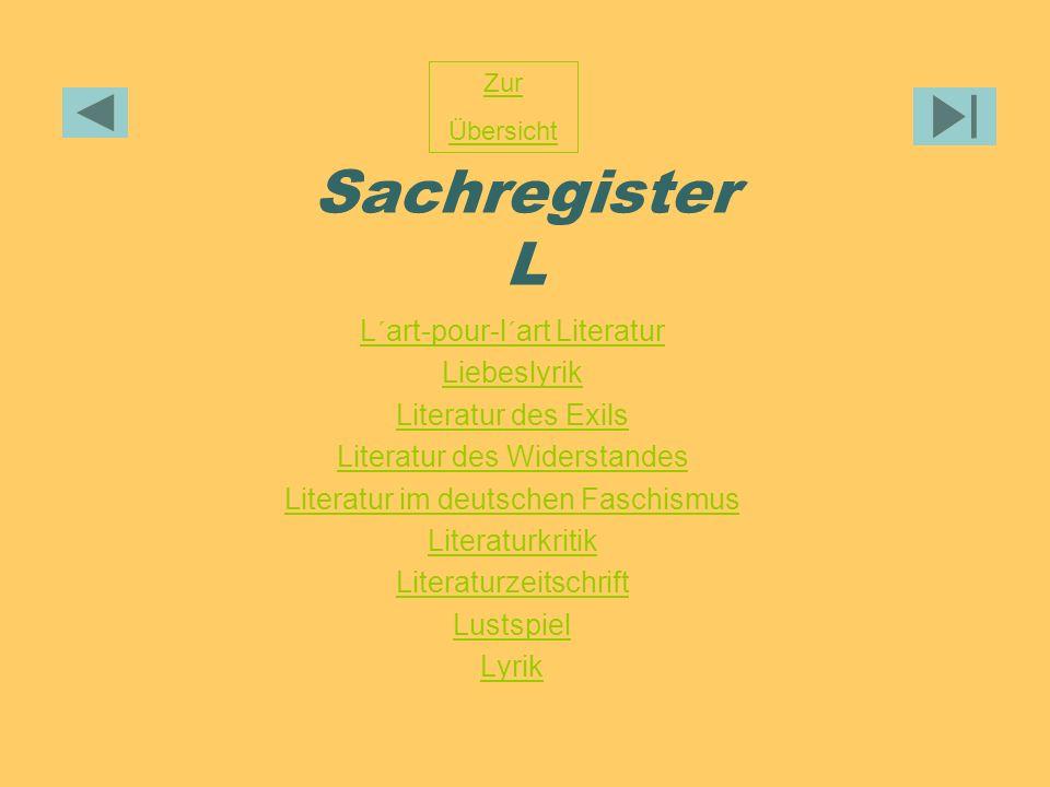 Sachregister L L´art-pour-l´art Literatur Liebeslyrik