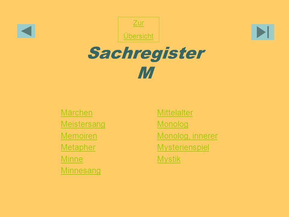 Sachregister M Märchen Meistersang Memoiren Metapher Minne Minnesang