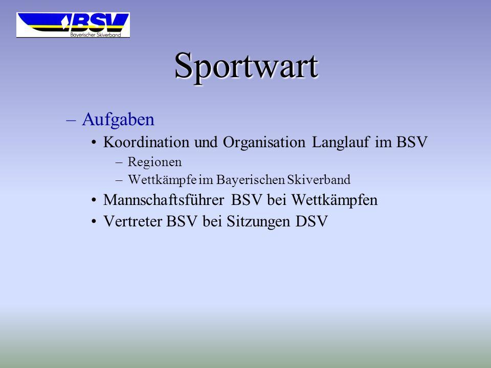 Sportwart Aufgaben Koordination und Organisation Langlauf im BSV