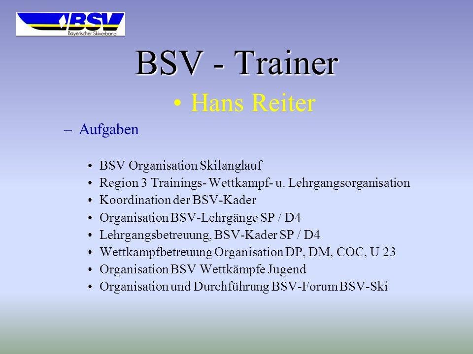BSV - Trainer Hans Reiter Aufgaben BSV Organisation Skilanglauf