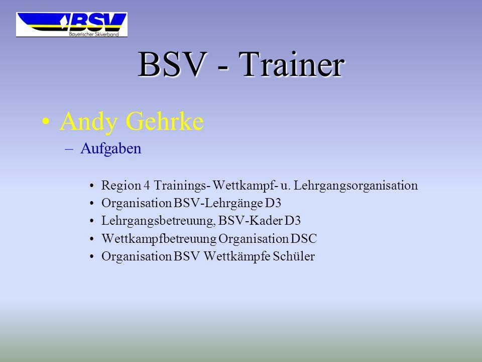 BSV - Trainer Andy Gehrke Aufgaben