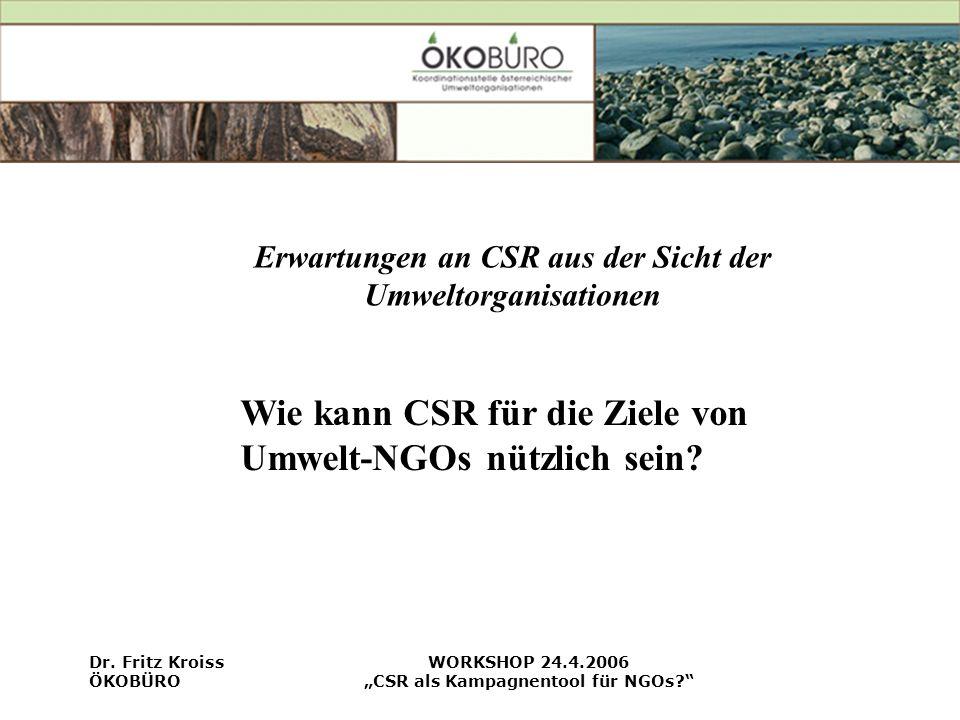 Wie kann CSR für die Ziele von Umwelt-NGOs nützlich sein