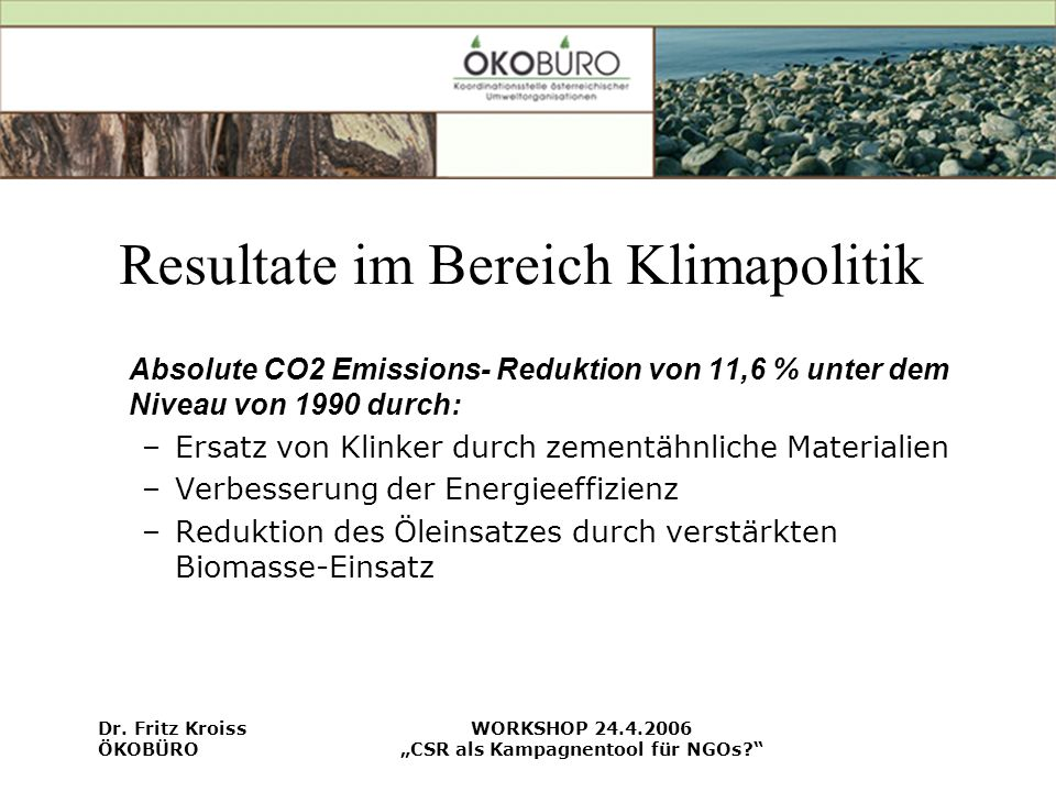 Resultate im Bereich Klimapolitik
