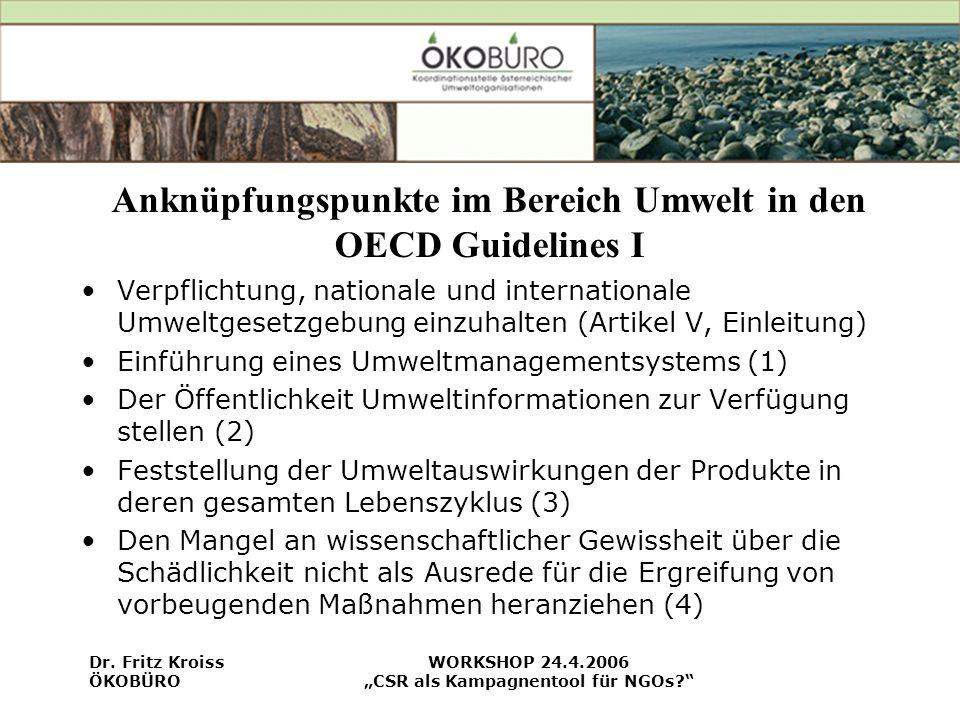 Anknüpfungspunkte im Bereich Umwelt in den OECD Guidelines I