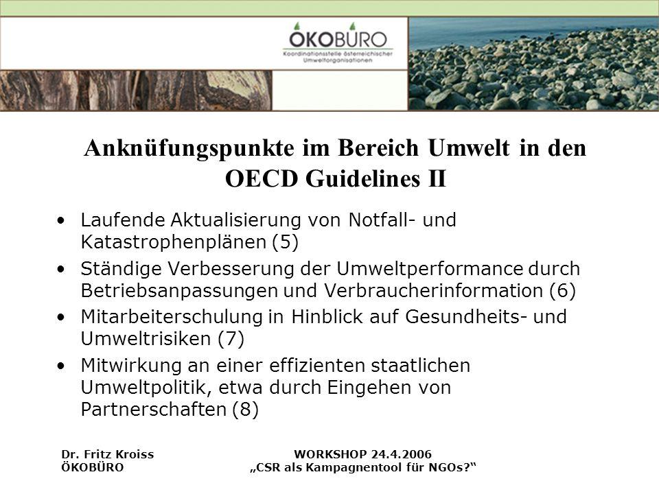Anknüfungspunkte im Bereich Umwelt in den OECD Guidelines II