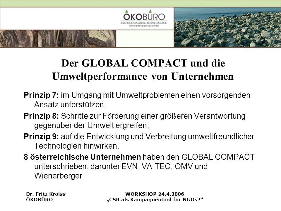 Der GLOBAL COMPACT und die Umweltperformance von Unternehmen