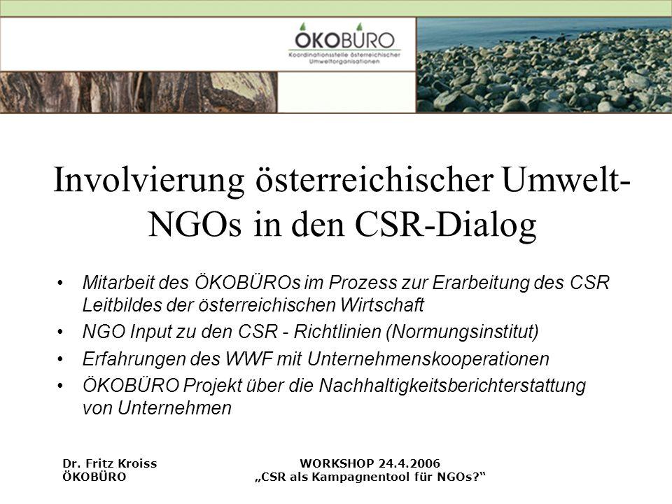 Involvierung österreichischer Umwelt-NGOs in den CSR-Dialog