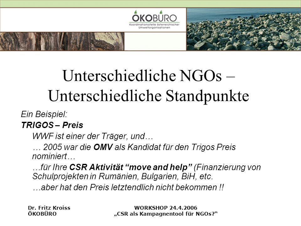 Unterschiedliche NGOs – Unterschiedliche Standpunkte